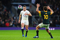 George Ford of England kicks for territory. Old Mutual Wealth Series International match between England and South Africa on November 12, 2016 at Twickenham Stadium in London, England. Photo by: Patrick Khachfe / Onside Images