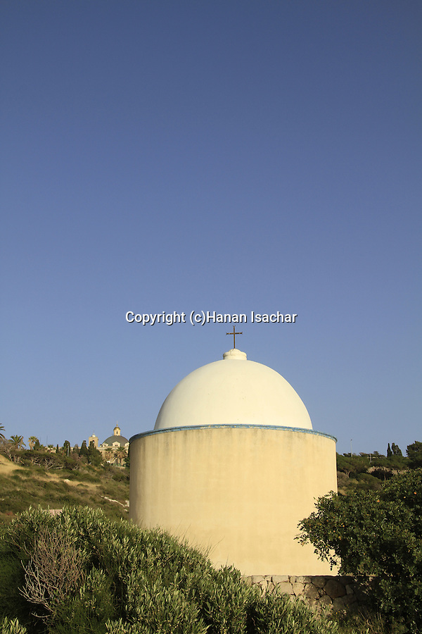 Israel, Haifa, the Holy Family Chapel on Mount Carmel, Stella Maris Monastery is in the background