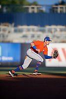 St. Lucie Mets shortstop Cody Bohanek (10) fields a ground ball during a Florida State League game against the Tampa Tarpons on April 10, 2019 at George M. Steinbrenner Field in Tampa, Florida.  St. Lucie defeated Tampa 4-3.  (Mike Janes/Four Seam Images)