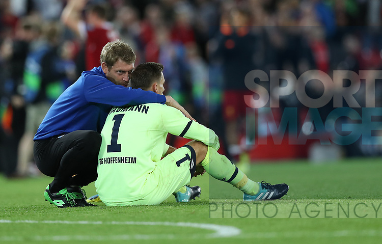 Oliver Baumann of Hoffenheim is dejected after the Champions League playoff round at the Anfield Stadium, Liverpool. Picture date 23rd August 2017. Picture credit should read: Lynne Cameron/Sportimage