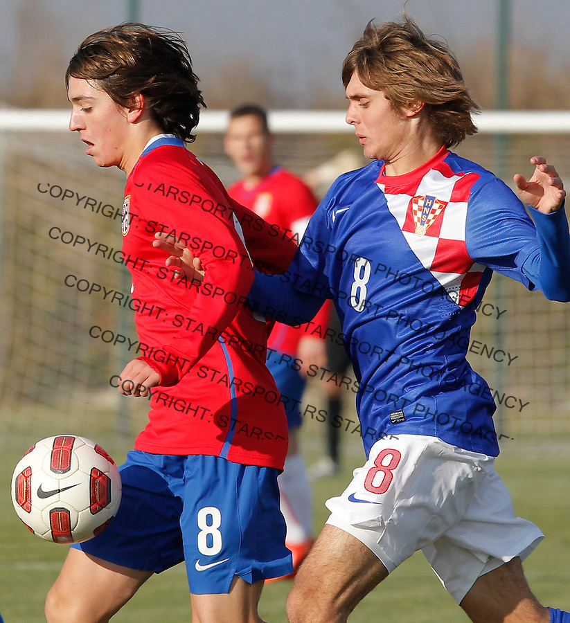 Fudbal  Reprezentacija Srbije<br /> Prijateljski mec Friendly match<br /> Srbija U17 v Croatia U17 <br /> Stefan Jankovic (L) and Frane Bitunjac<br /> Beograd, 11.12.2013.<br /> foto: Srdjan Stevanovic/Starsportphoto &copy;