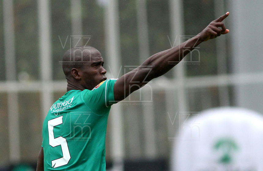 BOGOTA -COLOMBIA, 15-MARZO-2015. Julian Hurtado de La Equidad celebra su gol contra el Deportivo Pasto durante la decima fecha de La Liga Aguila jugado en el estadio Metroplitano de Techo  de  Bogota . / Julian Hurtado of  Equidad  celebrates his goal   against  of  Deportivo Pasto during the tenth round of La Liga Aguila played at Metropolitano de  Techo stadium in Bogota . Photo / VizzorImage / Felipe Caicedo  / Staff