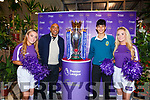 Ella Scanlon, Shaz Malik, Aaron Malik and Katie Walsh with the Premier League Cup in SuperValu Tralee on Wednesday afternoon.