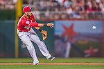 22 August 2015: Washington Nationals shortstop Ian Desmond flips to second during a game against the Milwaukee Brewers at Nationals Park in Washington, DC. The Nationals defeated the Brewers 6-1 in the second game of their 3-game weekend series. Mandatory Credit: Ed Wolfstein Photo *** RAW (NEF) Image File Available ***