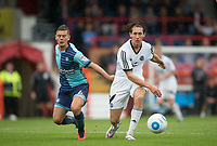 James Rowe of Aldershot Town during the pre season friendly match between Aldershot Town and Wycombe Wanderers at the EBB Stadium, Aldershot, England on 22 July 2017. Photo by Andy Rowland.