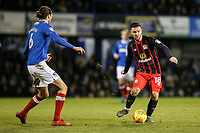 Blackburn Rovers' Adam Armstrong lays the ball off under pressure from Portsmouth's Christian Burgess <br /> <br /> Photographer Andrew Kearns/CameraSport<br /> <br /> The EFL Sky Bet League One - Portsmouth v Blackburn Rovers - Tuesday 13th February 2018 - Fratton Park - Portsmouth<br /> <br /> World Copyright &copy; 2018 CameraSport. All rights reserved. 43 Linden Ave. Countesthorpe. Leicester. England. LE8 5PG - Tel: +44 (0) 116 277 4147 - admin@camerasport.com - www.camerasport.com