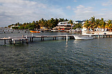 BELIZE, Caye Caulker, the waterfront on the East shore of Caye Caulker in the morning