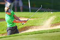 Luke Donald plays out of a bunker to the #1 green during the BMW PGA Golf Championship at Wentworth Golf Course, Wentworth Drive, Virginia Water, England on 25 May 2017. Photo by Steve McCarthy/PRiME Media Images.