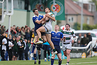 Seb Stegmann of Ealing Trailfinders win an aerial battle during the British & Irish Cup Final match between Ealing Trailfinders and Leinster Rugby at Castle Bar, West Ealing, England  on 12 May 2018. Photo by David Horn / PRiME Media Images.