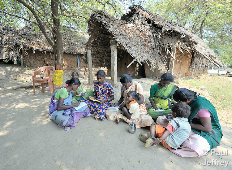 A women's literacy class in Nandambakkam, a tribal village in the southern India state of Tamil Nadu.
