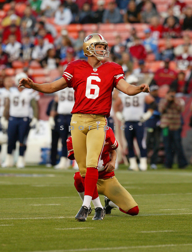 JOE NEDNEY, of the San Francisco 49ers, in action during the 49ers game against the San Diego Chargers on September 2, 2010 in San Francisco, California. ..49ers beat the Chargers 17-14.