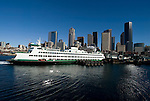 Washington State Ferry pulls into theWashington State Ferry's Coleman Dock in Seattle . Jim Bryant Photo. ©2010. All Rights Reserved.