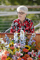 Former San Antonio City Councilwoman Bonnie Conner speaks during the grand re-opening of the Jingu House, Saturday, Oct. 22, 2011, at the Japanese Tea Garden in San Antonio, Texas, USA. (Darren Abate/pressphotointl.com)