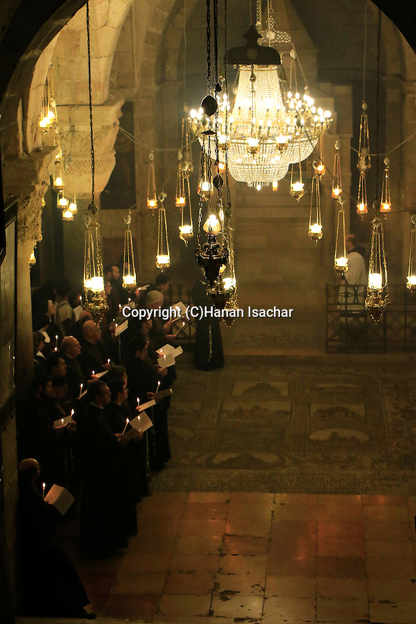 Israel, Jerusalem Old City, First Saturday of Lent ceremony at the Chapel of St. Helena in the Church of the Holy Sepulchre