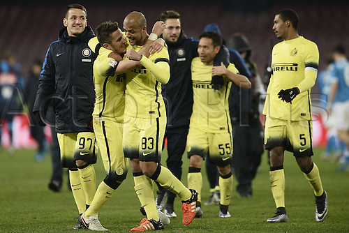 19.01.2016. Naples, Italy. Italian Cup football, Napoli versus Inter Milan.  Stevan Jovetic cel;ebrates with Felipe Melo