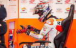 The rider Marc Marquez in the box during the MotoGP Grand Prix Itala in Mugello, Florence. 30/05/2014. Samuel de Roman/Photocall3000.