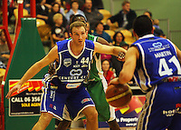 Saints centre Nick Horvath tries to hold off Keith Davis as Luke Martin looks for support during the NBL Round 14 match between the Manawatu Jets  and Wellington Saints. Arena Manawatu, Palmerston North, New Zealand on Saturday 31 May 2008. Photo: Dave Lintott / lintottphoto.co.nz