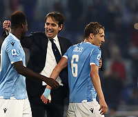 Football, Serie A: S.S. Lazio - Juventus Olympic stadium, Rome, December 7, 2019. <br /> Lazio's coach Simone Inzaghi (c) celebrates with Felipe Caicedo (l) and Lucas Leiva (r) after winning 3-1 the Italian Serie A football match between S.S. Lazio and Juventus at Rome's Olympic stadium, Rome on December 7, 2019.<br /> UPDATE IMAGES PRESS/Isabella Bonotto
