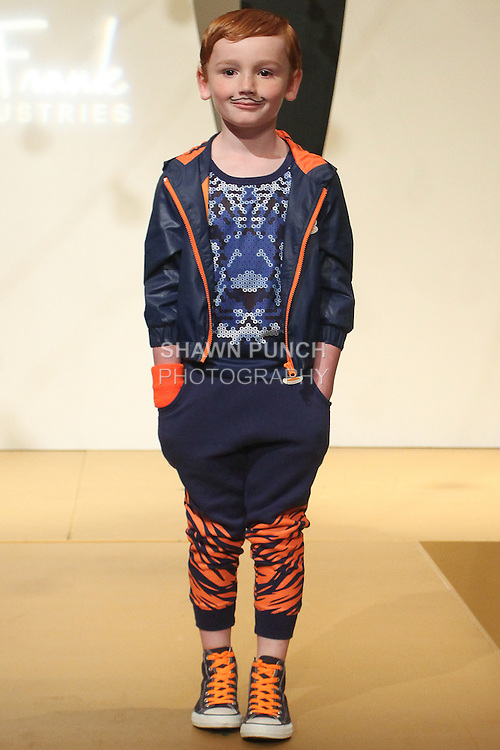 "Model walks runway in an outfit for the debut of the Paul Frank Industries Children's Spring Summer 2016 ""Circus Jumble"" collection during New York Fashion Week Spring 2016."