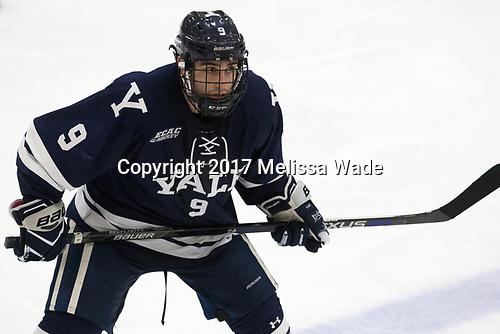 Robbie DeMontis (Yale - 9) - The Harvard University Crimson tied the visiting Yale University Bulldogs 1-1 on Saturday, January 21, 2017, at the Bright-Landry Hockey Center in Boston, Massachusetts.