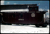 Caboose #0503 by engine house - Chama.<br /> C&amp;TS  Chama, NM