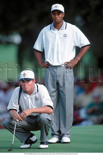 JUSTIN LEONARD & Tiger Woods, The Ryder Cup, Valderrama, Spain 970927 Photo:Neil Tingle/Action Plus...1997.Golf.golf.golfer golfers.teamwork