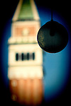 Street light on St Mark Square with the Campanile on the background, Venice, Italy