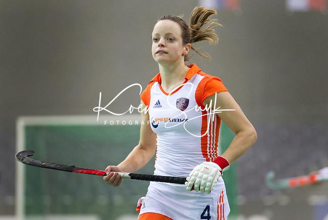 LEIPZIG - Karin den Ouden, vrijdag tijdens de wedstrijd tussen Nederland en Oekraine (7-3) bij het EK Zaalhockey in Leipzig.  ANP KOEN SUYK