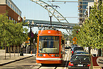 Portland streetcar in the Pearl District of Portland, Oregon.