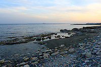 Evening sky and horizon seen from beautiful Armonia beach of Limassol, stock image.
