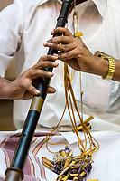 Musician Playing a Nadaswaram, an Indian Wind Instrument, Hindu Temple, Sri Maha Mariamman, Navarathri Celebrations, George Town, Penang, Malaysia.