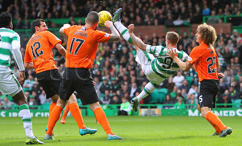 25.10.2015. Glasgow, Scotland. Scottish Premier League. Celtic versus Dundee United. Leigh Griffiths tries an overhead kick in the box