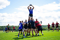 Zach Mercer of Bath Rugby wins the ball at a lineout. Bath Rugby pre-season training on August 8, 2018 at Farleigh House in Bath, England. Photo by: Patrick Khachfe / Onside Images