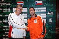 21-9-06,Leiden, Tennis, training Daviscup, Sluiter and Novak(l)