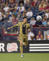 Philadelphia Union defender Danny Califf (4) heads the ball back to his goalkeeper. The Philadelphia Union defeated New England Revolution, 2-1, at Gillette Stadium on August 28, 2010.