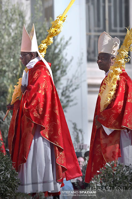 Cardinal Robert Sarah, cardinal Peter Kodwo Appiah Turkson..Pope Francis during of the Palm Sunday celebration on St Peter's square at the Vatican.April 24,2018