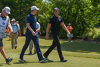 Justin Rose (GBR) and Henrik Stenson (SWE) head down 1 during Round 4 of the Zurich Classic of New Orl, TPC Louisiana, Avondale, Louisiana, USA. 4/29/2018.<br /> Picture: Golffile | Ken Murray<br /> <br /> <br /> All photo usage must carry mandatory copyright credit (&copy; Golffile | Ken Murray)