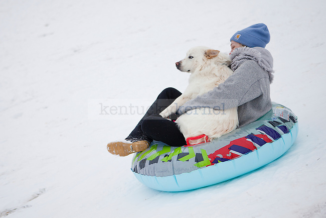 """Senior Kameron Collier and her dog Maximus sled in an inner tube in """"the Bowl"""" outside William T. Young Library in Lexington, Ky., on Monday, February 3, 2014. Photo by Emily Wuetcher  
