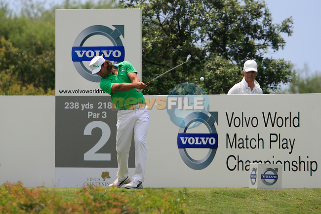 Johan Edfors (SWE) tees off on the 2nd tee during the afternoon session on Day 2 of the Volvo World Match Play Championship in Finca Cortesin, Casares, Spain, 20th May 2011. (Photo Eoin Clarke/Golffile 2011)