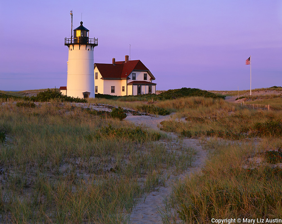 Cape Cod National Seashore, MA <br /> Pathway through the dunes leading to Race Point Lighthouse (1876) at dawn