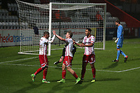 Alex Samuel of Stevenage scores the first goal for his team and celebrates with his team mates during Stevenage vs Brighton & Hove Albion Under-21, Checkatrade Trophy Football at the Lamex Stadium on 7th November 2017
