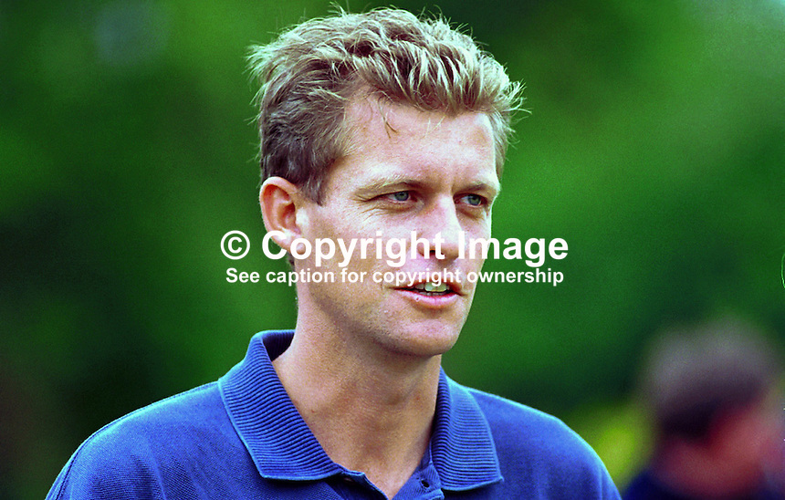 Anders Hansen, Professional golfer, Sweden. Ref: 199907055. Photograph taken July 1999 at Druids Glen, Co Wicklow, during Murphys Irish Open...Copyright Image from Victor Patterson, 54 Dorchester Park, Belfast, UK, BT9 6RJ..Tel: +44 28 9066 1296.Mob: +44 7802 353836.Voicemail +44 20 8816 7153.Skype: victorpattersonbelfast.Email: victorpatterson@mac.com.Email: victorpatterson@ireland.com (back-up)..IMPORTANT: If you wish to use this image or any other of my images please go to www.victorpatterson.com and click on the Terms & Conditions. Then contact me by email or phone with the reference number(s) of the image(s) concerned.