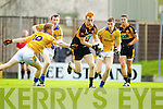 Shane Carroll Austin Stacks in action against Maurice O'Connor and Jack McGuire Feale Rangers in the Semi Finals of the Senior County Football Championship at Austin Stack Park on Sunday.
