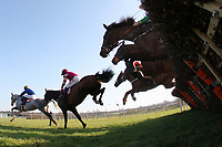 The field in jumping action during the ladbrokes.com Mares Novices Hurdle