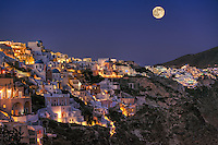 Oia by night in Santorini island, Greece