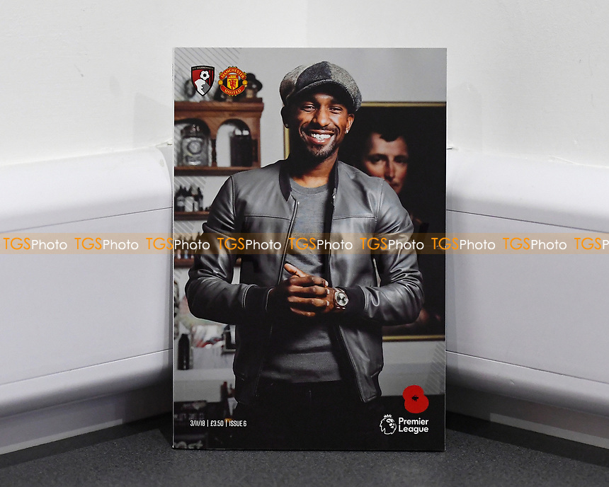 Jermain Defoe of AFC Bournemouth on the front cover of the match day programme during AFC Bournemouth vs Manchester United, Premier League Football at the Vitality Stadium on 3rd November 2018