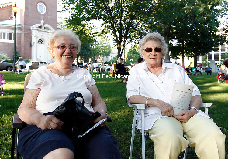Naugatuck, CT- 24 June 2014-062414CM08-  SOCIAL MOMENTS---  Left to right, Roberta Ablazey and Lillian Terrill of Oakville during The Naugatuck 2014 Summer Music Festival featuring a performance by the Naugatuck Community Band on Tuesday night.  Christopher Massa Republican-American