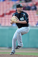 Syracuse Chiefs pitcher Josh Wilkie #13 delivers a pitch during a game against the Buffalo Bisons at Dunn Tire Park on April 7, 2011 in Buffalo, New York.  Syracuse defeated Buffalo 8-5.  Photo By Mike Janes/Four Seam Images