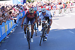 Vincenzo Nibali (ITA) Bahrain-Merida and Bob Jungels (LUX) Quick-Step Floors attack on the final climb into Bergamo Alta near the end of Stage 15 of the 100th edition of the Giro d'Italia 2017, running 199km from Valdengo to Bergamo, Italy. 21st May 2017.<br /> Picture: LaPresse/Pool Tim De Waele| Cyclefile<br /> <br /> <br /> All photos usage must carry mandatory copyright credit (&copy; Cyclefile | LaPresse/Pool Tim De Waele)