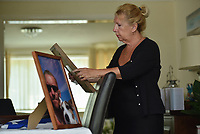 """Pictured is Richard Best's mother, Pamela Thomas.<br /> Re: The parents of Richard Best, who died in an accident that left him with a serious head injuries after tripping over his own flip flop have paid tribute to him as """"a life-long Cardiff supporter who touched the hearts of everyone"""".<br /> Around 1,000 will attend the funeral of Richard Best, who died in the accident in the early hours of July 3, 2018.<br /> """"He was so well loved by everyone."""" said his mum Pam.<br /> """"I just can't believe how many hearts he touched. I find it hard to still accept it, at times I am in denial and other times I realise what has happened.""""<br /> The family's home in Baglan, south Wales has been inundated with cards and flowers since Richard, who worked at the steelworks in Port Talbot, was found with a head injury."""